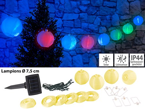 Lunartec Solar-Lampion wetterfest: Solar-LED-Lichterkette mit 10 Mini-Lampions, 1,8 m, IP44 (LED-Solar-Party-Lichterketten) -