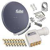 FUBA 85cm für 8 Teilnehmer (Direktanschluss) Digital SAT Anlage DAA850A + Octo LNB weiß 0,1dB FULL HDTV 4K 3D + 16 Vergoldete F-Stecker und F- Montageschlüssel gratis dazu