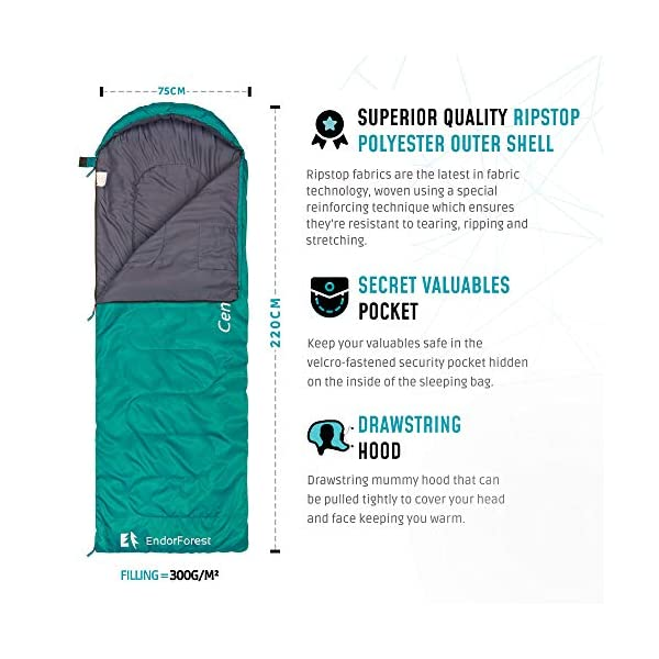 Endor Forest Sleeping Bag for Adults and Kids - Made With Ripstop Polyester, Single Envelope 3 Season Sleeping Bag for Camping - Lightweight, Compact and Water Resistant for a Comfortable Warm Sleep 2