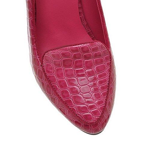VogueZone009 Femme Couleur Unie Pu Cuir à Talon Haut Pointu Tire Chaussures Légeres Cramoisi