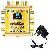 HB-DIGITAL - Commutatore Multiplo DVB-S/S2 5/8, per 1 SAT, 8 ricevitori satellitari, Quad & Quattro LNB, Incluso Alimentatore Esterno, MS58Q-HB, HDTV FullHD 1080p 4K UHD