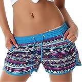 Damen Sporthose, kurze Sport Shorts in vielen eleganten Mustervarianten und Größen erhältlich Model 60952 Türkis 38 bis 40
