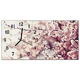 Glasuhr von DekoGlas 60x30cm waagerecht Bilderuhr aus Acrylglas mit lautlosem Quarzuhrwerk Dekouhr Glaswanduhr Uhr aus PMMA Wanduhren Küchenuhr Wanddekoration Glasbilder Blühenden Baum Rosa