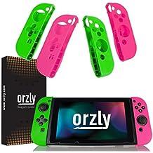 ORZLY® Pack de Cuatro FlexiCase mandos Joy-con - Cuatro Fundas Protectoras (2X Rosa y 2X Verde)