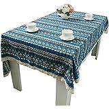 NiSeng Manteles Encaje Decorativos Manteles de tela Antimanchas Rectangular Cuadrados Patrones Geométricos Mantel Algodón Lino Azul 140x140 cm