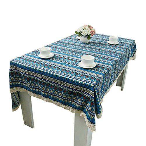 NiSeng Manteles Encaje Decorativos Manteles de tela Antimanchas Rectangular Cuadrados Patrones Geométricos Mantel Algodón Lino Azul 100x140 cm
