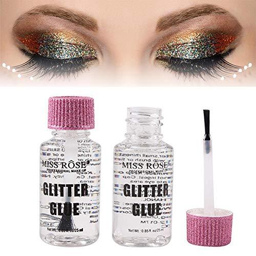Colle à cils, Glitter Glue Face Eye Sequin Pinceau Pinceau applicateur pour extension de cils en bande, faux cils, cils de vison, Gel liquide fard à paupières Glue Glue
