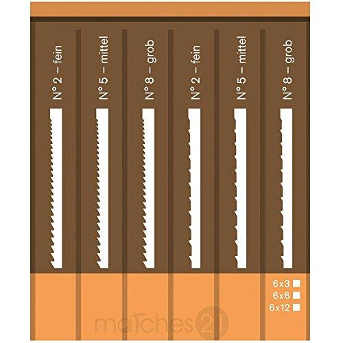 Preisvergleich Produktbild matches21 Laubsägeblätter Ersatz Sägeblätter für Laubsägebögen / 18 Stk. Holz und Metall in je 3 Stärken Bastel-Zubehör Bastelwerkzeug
