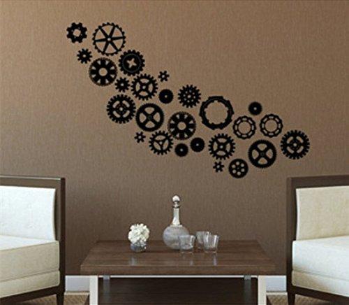 YINGKAI Steampunk engranajes y Cogs salón vinilo para pared adhesivo para decoración del hogar