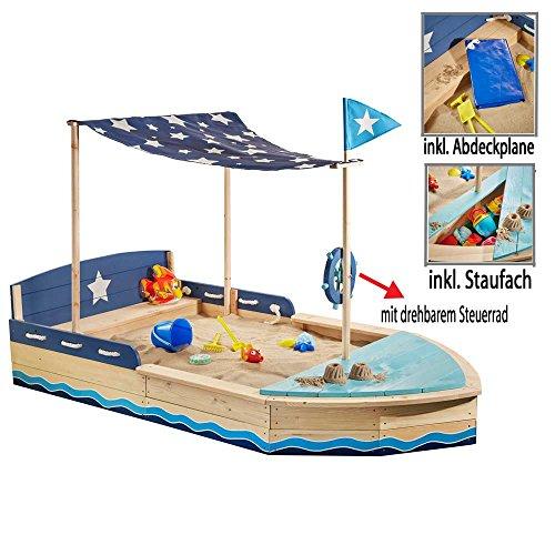 Sun Sandkasten Schiff XL Sandkiste Massivholz m. Sitzbank Dachsegel div. Zubehör by Woodinis®