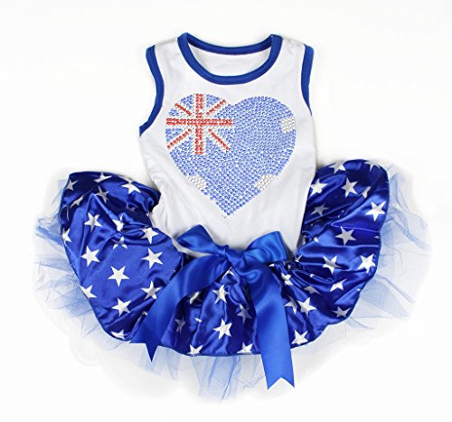 Pet Supply Bling AU Herz Baumwolle Shirt Patriotische Stern blau Tutu 1 Hund ()