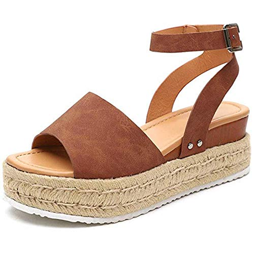 Sandalen Damen Plateau Espadrille Sommer Keilabsatz Faux Leder 5 cm Absatz Sandaletten Peep Toe Flach Sommerschuhe Bequeme 35-43 (Khaki,37) Faux Peep Toe