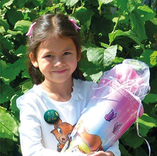 Lasse und Lucie 8 Button Schulanfang zur Einschulung / 8 Große Buttons 38 Millimeter Durchmesser als Geschenk für Das Schulkind und für die Schultüte - 2