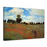 Bilderdepot24 Leinwandbild - Claude Monet - Mohnfeld Bei Argenteuil - 120x90cm XXL Einteilig - Alte Meister - Bilder als Leinwanddruck - Kunstdruck - Leinwandbilder - Bild auf Leinwand - Wandbild