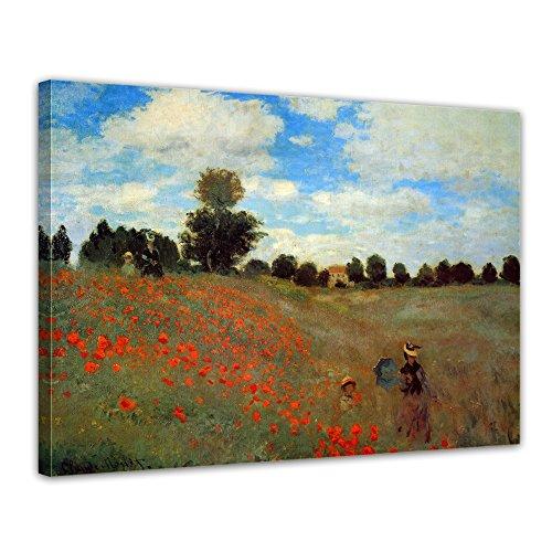 Bilderdepot24 Immagine Tela di Claude Monet - Completamente incorniciato, Direttamente dal Produttore - Antichi Maestri Papaveri a Argenteuil 70x50cm