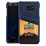 Samsung Galaxy S7 Edge Lederhülle Leder Case mit Schlitz für Kreditkarte Brieftaschen Cover Halloween Pumpkin Trick or Treat
