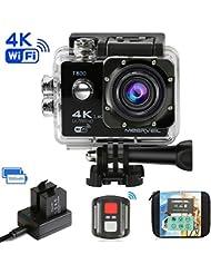 Meerveil T800 4K Action Kamera WiFi Sport Kamera Camcorder 30M Wasserdicht Unterwasserkamera Helmkamera 16MP 170 Grad Weitwinkel mit 2 verbesserten Batterien und Accessoires Kits