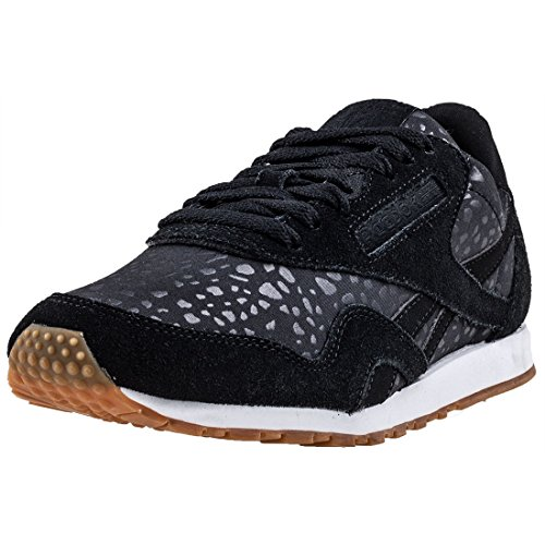 Reebok Damen Classic Nylon Slim Text Lux Sneaker, Schwarz (Black/White/Gum), 42 EU (Lux Schuhe White)