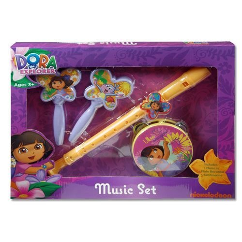 Nick Jr. Dora The Explorer Nickelodeon Musik Box Set w/Flöte Maracas & Tamborine ab 3 und - Dora Explorer Kostüm