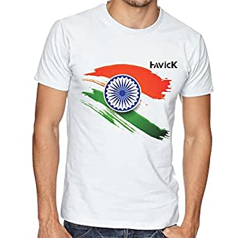 Havick india flag printed white unisex t shirt medium for Printed t shirts india