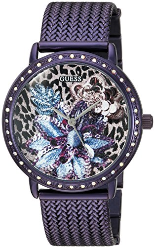 GUESS Women's U0822L4 Trendy Purple Watch with Purple Dial , Crystal-Accented Bezel and Mesh G-Link Band