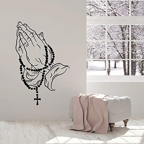 jiushivr Perlen Cross Hands Wandaufkleber Christian Gebetsraum Vinyl Wandtattoo Decor Wohnzimmer Nordic Dekoration Kunst Wandbilder 81x126cm
