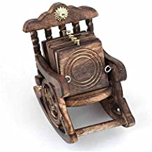 Aarsun Wooden Coaster Set of 6   Rocking Chair Shaped Coaster Set   Antique Gift Items