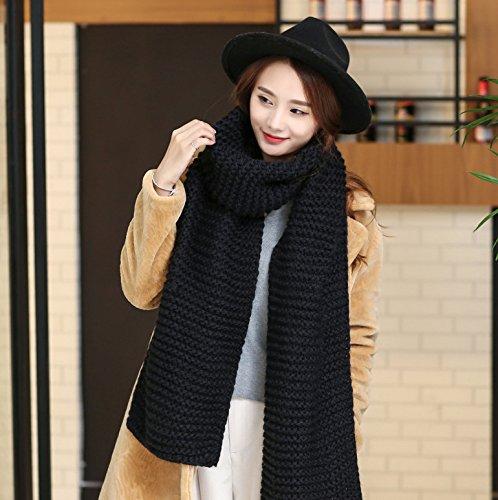 Lana grossolana sciarpa sciarpe di colore solido studente femmina giovane ispessiti in inverno caldo knit ,nero