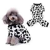 Morehappy7 Hundepyjama/Schlafanzug für den Winter, mit Milchkühen, schwarz/weiß, Large