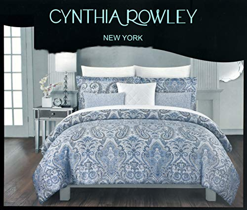 Cynthia Rowley 3-teiliges Full Queen Baumwolle Bettbezug Set Paisley Marokkanische Medaillon Coral Rot Blau Taupe, baumwolle, indigoblau, King Size - Ralph Lauren-cover-set