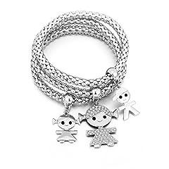 Idea Regalo - Braccialetto di fascino per donne, collana di ciondolo per bimbi Braccialetto di amicizia per bracciale con cristallo (3 pezzi/set) (Placcato argento)