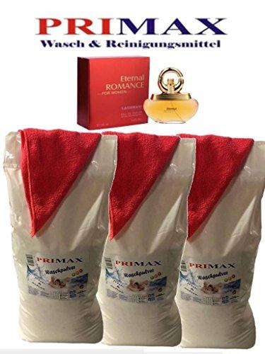 30 kg Primax Waschpulver + Damen Parfüm + 3 Microfasertücher