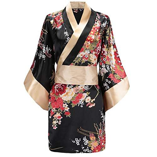 (LY-JFSZ Reizwäsche,Damen Babydoll Unterwäsche Nachthemd Nachtwäsche Schlafanzug Set Japanische Floral Light Luxus Stoff Kimono Verbreitet Nachthemd)