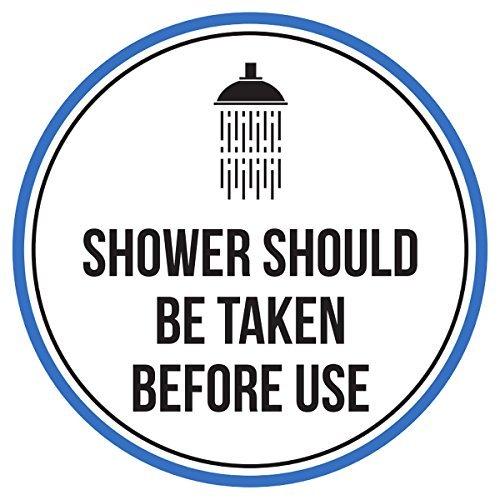 Maureen52Dorothy Dusche Genommen Werden Sollte vor Gebrauch Pool Spa Warnschilder Sticker Funny gewerblichen Safety Signs Aufkleber Rund Vinyl Schild Aufkleber 22,9x 22,9cm
