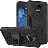 Qzey Tough Hybrid Flip Kick Stand Spider Hard Dual Shock Proof Rugged Armor Bumper Back Case Cover For Motorola Moto G5S(Not For G5s Plus) - Rugged Black