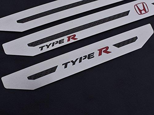 Einstiegsleisten Stahlabdeckung für Civic Type R V FK8-4 Stück Edelstahl Leisten Zierleisten mit Carbonschicht Ladekantenschutz Komplett