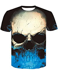 Unisex 3D Patrón Calavera O-Cuello Impreso Casual Manga Corta Camisetas Top Tees Camiseta Impresa, Hombre/Mujer Verano…