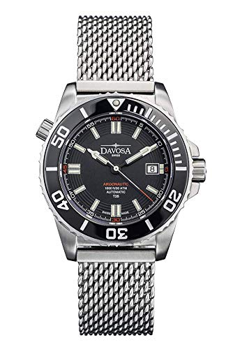 Davosa Automatic Argonautic Diver Lumis Black White Stainless Steel Wrist Watch