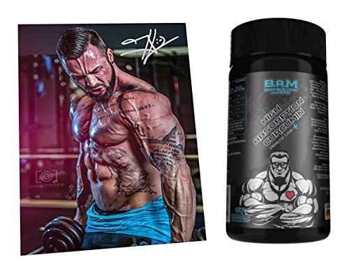 Fan Edition B.A.M. High Absorbation Curcumin 95% Immunsystem Antioxidantien Fitness Diät Bodybuilding 60 Kapseln inkl. Autogrammkarte... -