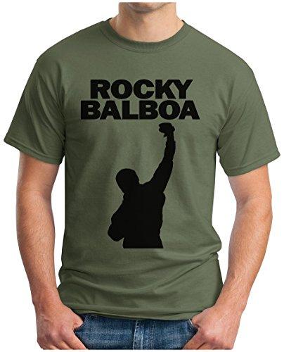 OM3® - Rocky City - T-Shirt Balboa The Italian Stallion 70s 80s Cult Boxing Movie USA, M, Oliv -