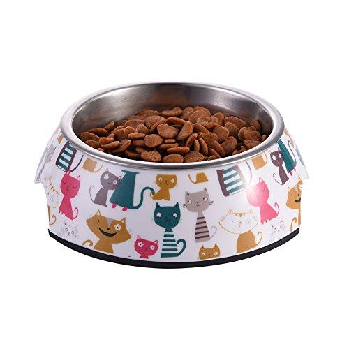 WIDEN Katzen Schüssel mit abnehmbarem Melamin Edelstahl Schüssel für Haustier Hund Katze (Pet-kiste Tray)