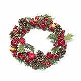 LTWHOME Artikelnummer WHDAPB Künstlicher Handgemachter Weihnachtskranz mit Äpfeln, Beeren, Tannenzapfen, Granatäpfeln und Stechpalmenblättern für Haustür, Wand, Kaminsims, Fensterdekoration