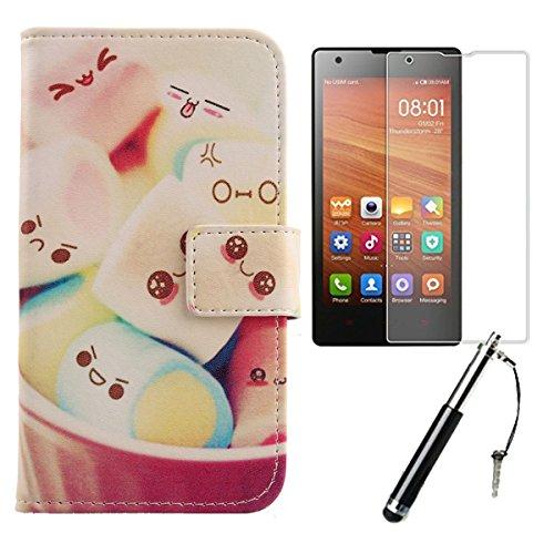 Lankashi 3in1 Set Back Girl Design PU Cuir Coque Case Pour Xiaomi Redmi / Hongmi 1S Housse Etui Cover Flip Verre Trempé Vitre de Protection écran Rétractable Mini Tactiles Capacitif Stylus Touch Pen S Lovely