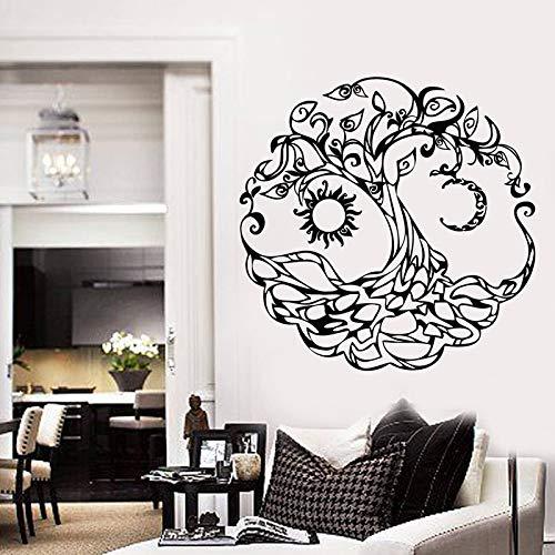 hllhpc Vinyl Wandtattoo Baum des Lebens Sun Moon Home Room Decor Aufkleber Wandbild Für Wohnzimmer Dekoration Heißer DIY57 * 57 cm