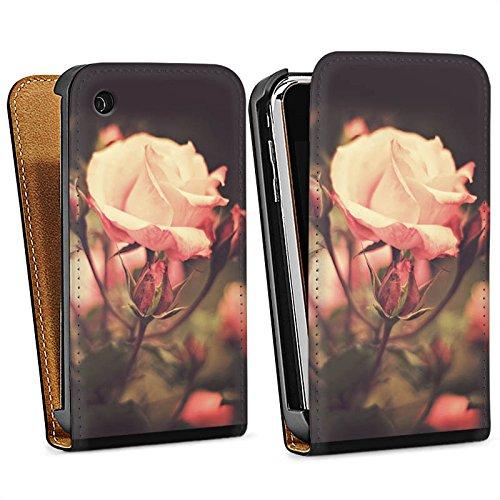 Apple iPhone 4 Housse Étui Silicone Coque Protection Pétales de roses Fleurs Fleurs Sac Downflip noir