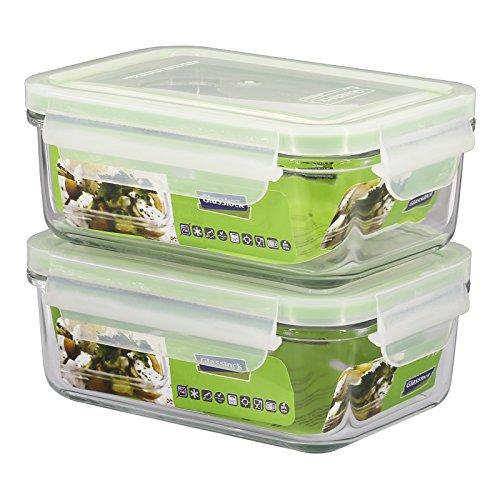 GlassFood - Glasslock Frischhaltedosen-Set, Korpus aus Natronglas und PP-Deckel, BPA-frei, mit luftdichtem Silikonverschluss 2X Rectangular 0.7L