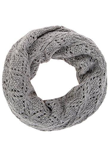 Oodji ultra donna sciarpa in pizzo con lurex, grigio