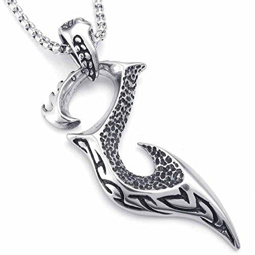 AnaZoz Modeschmuck Edelstahl Herren Anhänger Halskette Biker Tribal Phoenix Vogel 22 Zoll Schwarz Silber (Herren Cobalt Ring Hochzeit)
