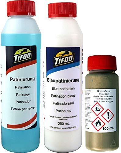 Set Acryl Effekt Farbe Bronze Patinierung Brünierung Grünspan 100 mL + 2x250 mL - Alterungseffekte und Patina auf allen Oberflächen