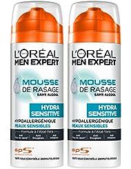 L'Oréal Men Expert Mousse à Raser Hydra Sensitive Peaux Sensibles 200 ml - Lot de 2